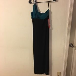 Gorgeous one shoulder black and teal evening dress